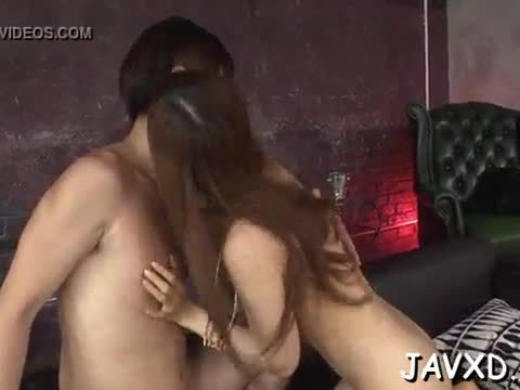 Two studs are caressing and banging this pretty asian gal