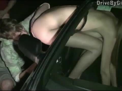 Cute girl Kitty Jane stuck her ass through the car window for anyone to fuck