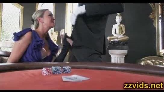 Smoking blonde Abbey Brooks fucked on cassino table